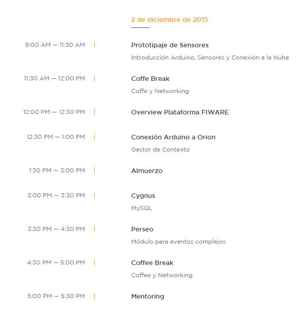 agenda 2 diciembre - Taller IoT